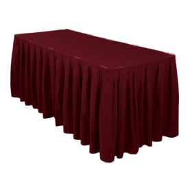 Burgundy Accordion Pleat Table Skirt 14 Foot