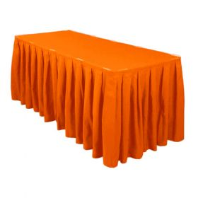 Orange Accordion Pleat Table Skirt 14 Foot