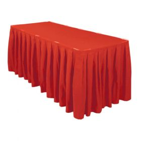 Red Accordion Pleat Table Skirt 14 Foot