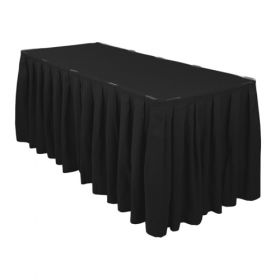 Black Accordion Pleat Table Skirt 17 Foot