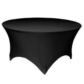 5 Ft. Round Stretch Tablecloth Black