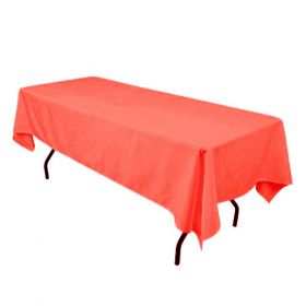 60 x 126 in. Rectangular Polyester Tablecloth Coral