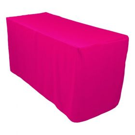 6ft Fitted Polyester Tablecloth Fuchsia