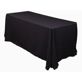 Black Tablecloth Polyester Rectangle 90x132 inch