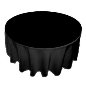 70 inch Round Black Polyester Tablecloth