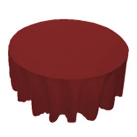 78 in. Round Burgundy Polyester Tablecloth