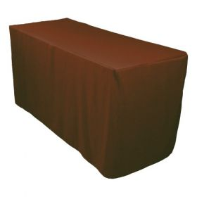 6ft Fitted Polyester Tablecloth Chocolate