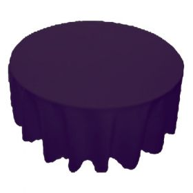 70 in. Round Polyester Tablecloth Plum