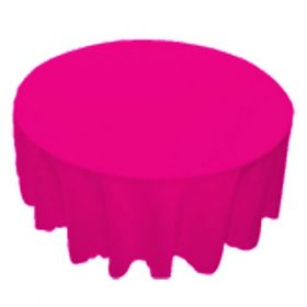 108 in. Round Polyester Tablecloth Fuchsia