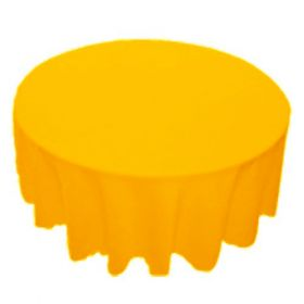 70 in. Round Polyester Tablecloth Gold
