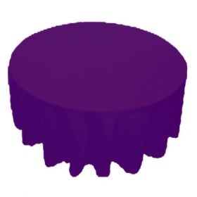 108 in. Round Polyester Tablecloth Purple