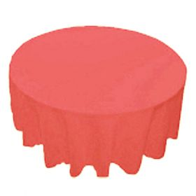 120 in. Round Polyester Tablecloth Coral